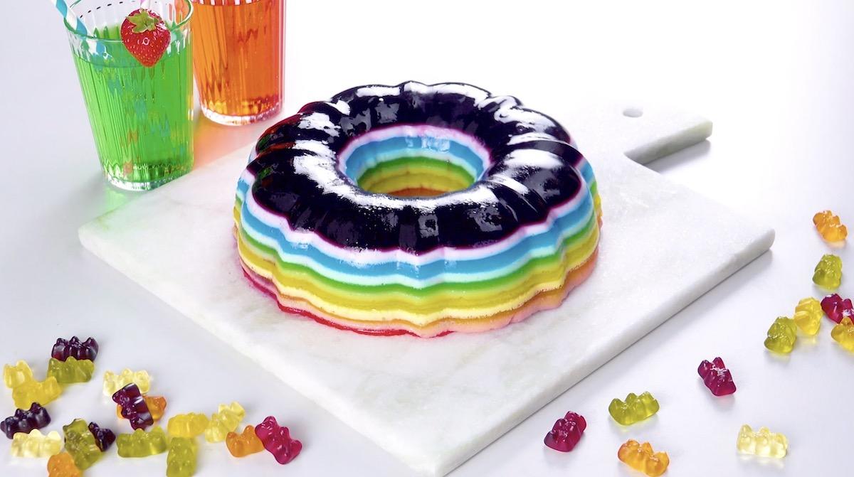 Rainbow Jello Cake