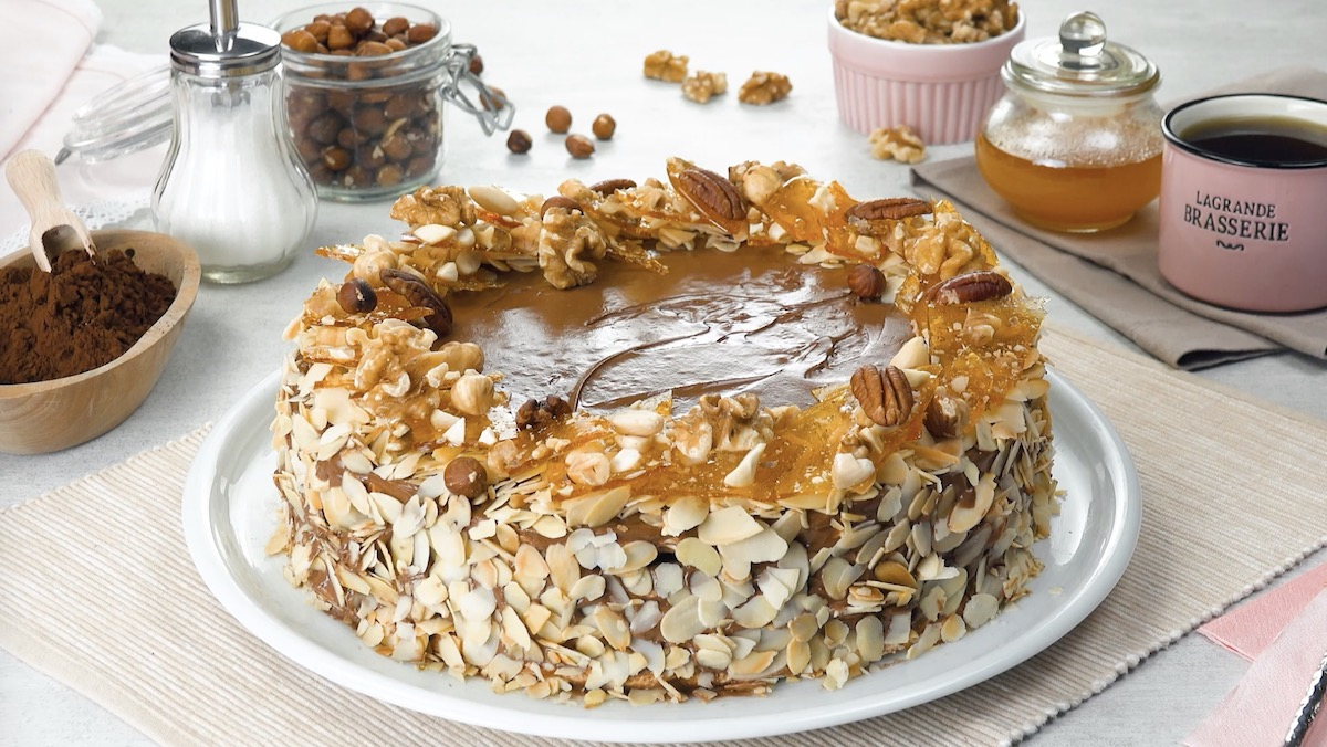 Flourless Caramel Nut Cake With Chocolate And Vanilla Cream Layers