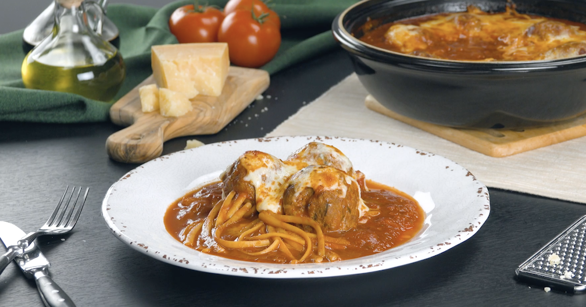 Tuscan Spaghetti And Meatballs With Linguine Noodles Served In Homemade Marinara Sauce