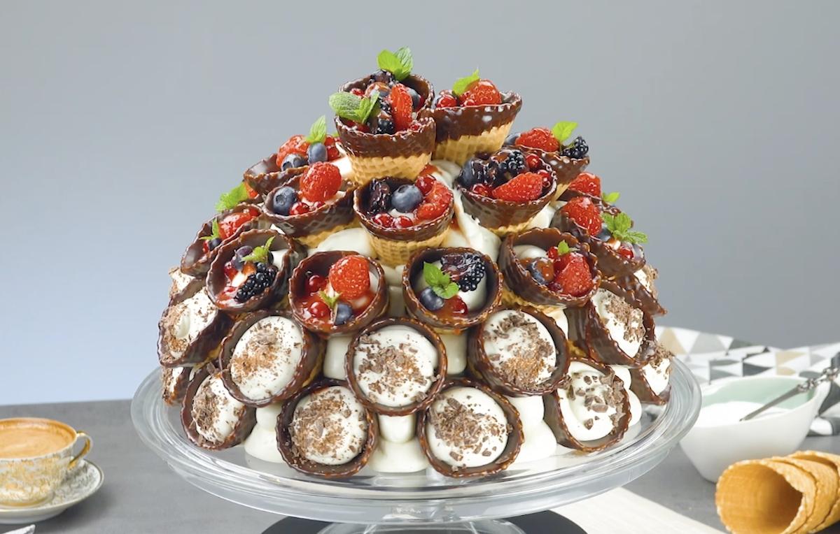 Waffle Cone Cake With Wild Berries & Chocolate Ganache