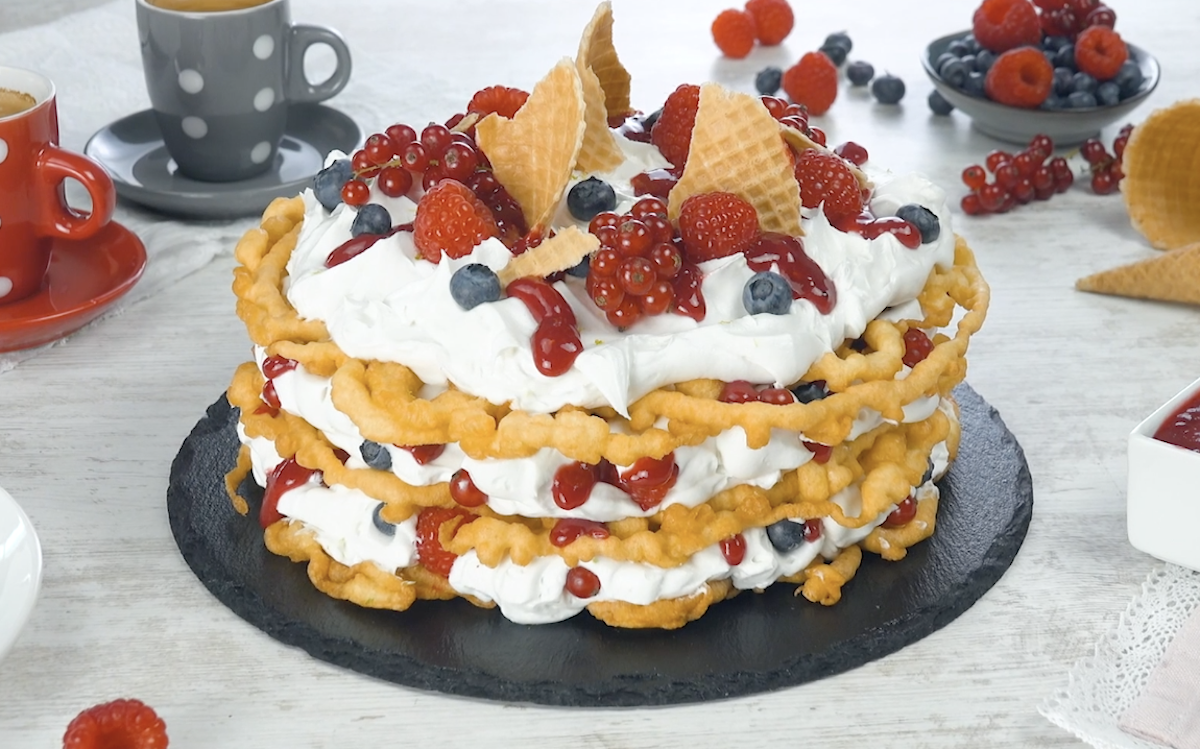 Triple Layer Funnel Cake With Berries & Cream