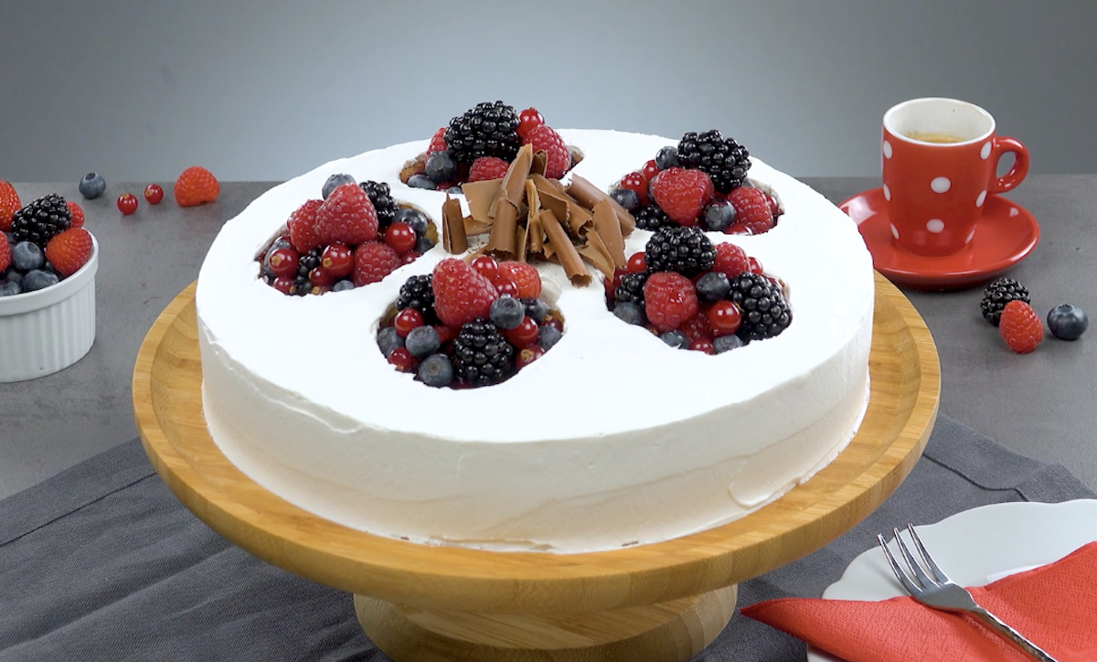 Yellow Cake Filled With Mixed Berries With A Cookie Crust